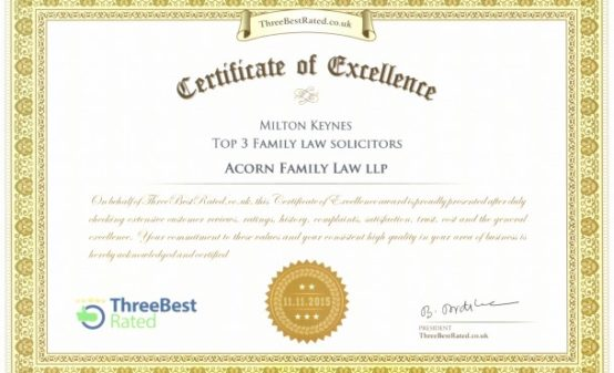 Acorn Family Law awarded Certificate of Exellence